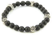 King Baby Men's Black Onyx Beads with Sterling Silver Roses Bracelet
