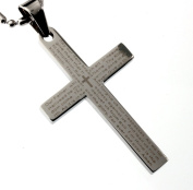 The Lord's Prayer 1662 Anglican Version, 40mm Cross Pendant, Finest Quality Stainless Steel Jewellery