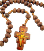Mens Womens Catholic Gift 8MM Wood Bead Saint St Francis of Assisi San Damiano Tau Cross Cord Rosary Necklace