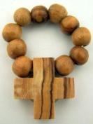 Mens Womens Light Olive Wood Prayer Finger Rosary Ring Catholic Devotional Gift