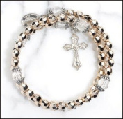 Catholic Gift 6MM Gold Silver Cap Crystal Bead Rosary Miraculous Wrap Bracelet