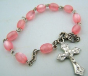 """Womens Girls Pink 8MM Faux Mother of Pearl Bead 8"""" Silver Prayer Rosary Bracelet"""