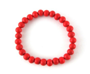 Wooden Elastic Bead Bracelet in Red Colour. One Size Fits All!