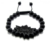 Wooden Hip Hop Swag Charm Bracelet w/ 10 mm Beads ALL GOOD WOOD STYLE! black, macrame