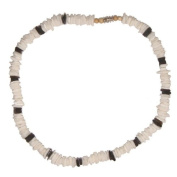 Puka Shell Necklace White and Black Chips Men's & Ladies' Choker Surfer Hawaiian Jewellery Shell Surf Puca Beads - 45.7cm Inch
