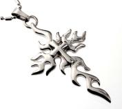 Men's Fire Cross Pendant Necklace