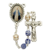 6mm Blue Glass Beads and Miraculous Photo Centre Rosary