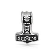 Bling Jewellery Stainless Steel Mens Celtic Antiqued Thors Hammer Pendant