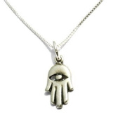 Sterling Silver Hamsa Eye of Protection Unisex Charm Necklace