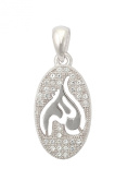 Oval Sterling Silver Allah Pendant Micro-set with Cubic Zirconia Stones