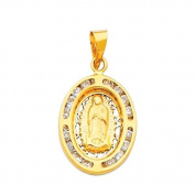 14K Yellow Gold Religious Guadlupe CZ Cubic Zirconia Charm Pendant