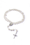 Rosary Beads of Rice White Pearls Silver Medal - Elegant Design Cross