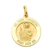 14K Yellow Gold Large Religious Saint Jude Thaddeus Medal Charm Pendant
