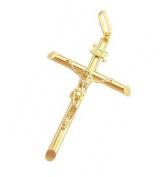 Crucifix Cross Pendant 14k Yellow Gold Jesus Charm Tube 5.1cm