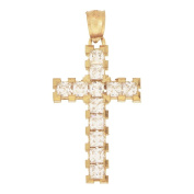 14k Yellow Gold, Cross with Lab Created Gems Pendant Charm 18mm Wide