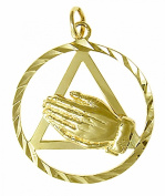 Alcoholics Anonymous AA Symbol Pendant #25-4, 2.4cm Wide and 1-0.5cm Tall, Solid 14K Gold, Praying Hands with AA Symbol in a Large Diamond Cut Circle