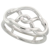 "Sterling Silver Flawless Quality Wire Knot Ring Band, 7/16"" (11mm) wide, size 6"