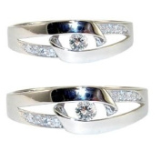 14k White Gold, Fancy Duo Two Piece Matching Bands Ring Set with Lab Created Gems