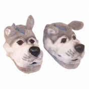 Comfy Feet Grey Wolf Animal Feet Youth Slippers