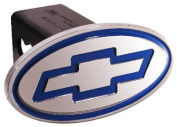 DefenderWorx 40021 Chevy - Inscribed Bowtie - Blue - Oval - 2 Inch Billet Hitch Cover