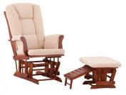 Status Veneto Glider and Nursing Stool Ottoman, Cognac Finish with Beige Cushions