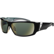 Ryders Eyewear Bison Black Xtal Frame Sunglasses, Green Lens
