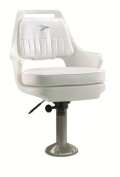 Wise Deluxe Helm Chair with 38.1cm Locking Pedestal and Seat Slide Bracket, White