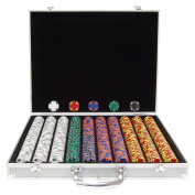 Trademark Poker 1000 14 Gramme Tri-Colour Ace/King Clay Poker Chips in Aluminium Case