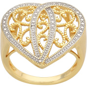 Diamond-Accent Filigree Heart Ring in 18kt Yellow Gold over Sterling Silver, Size 7