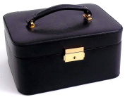 "Bey-Berk International Jewellery/Watch Case, Black ""Lizard"" Leather, T.P."