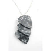 PickC Jewellery Guitar Pick Necklace in Charcoal and Silver