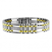 CZ Yellow Over Stainless Steel Two-Tone Bracelet, 22.9cm