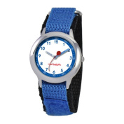Red Balloon Kid's Stainless Steel Time Teacher hook and loop Watch in Blue