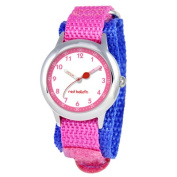 Red Balloon Kid's Stainless Steel Time Teacher hook and loop Watch in Pink