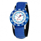 Red Balloon Kid's Stainless Steel Time Teacher hook and loop Watch in Blue with Blue Bezel