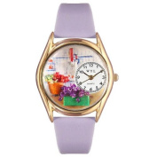 Whimsical Watches Women's Gardening Lavender Leather and Gold Tone Watch
