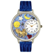 Whimsical Watches Unisex Leo Royal Blue Leather and Silvertone Watch in Silver