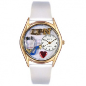 Whimsical Watches Women's LPN White Leather and Gold Tone Watch