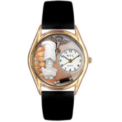 Whimsical Watches Women's Chiropractor Black Leather and Gold Tone Watch