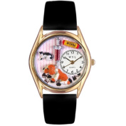 Whimsical Watches Women's Veterinarian Black Leather and Gold Tone Watch