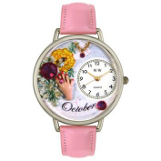 Whimsical Watches Unisex Birthstone October Pink Leather and Silvertone Watch in Silver