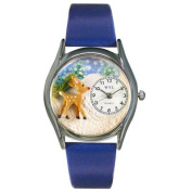 Whimsical Watches Women's Christmas Reindeer Royal Blue Leather and Silvertone Watch in Silver