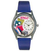 Whimsical Watches Women''s Bingo Royal Blue Leather and Silvertone Watch in Silver