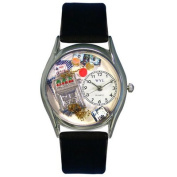 Whimsical Watches Women''s Casino Black Leather and Silvertone Watch in Silver