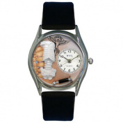 Whimsical Watches Women''s Chiropractor Black Leather and Silvertone Watch in Silver