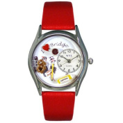 Whimsical Watches Women''s Bridge Red Leather and Silvertone Watch in Silver