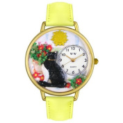 Whimsical Watches Unisex Basking Cat Yellow Leather and Goldtone Watch in Gold