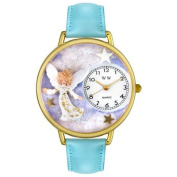 Whimsical Watches Unisex Angel Baby Blue Leather and Goldtone Watch in Gold