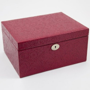 Red Leather Jewellery Box - 11.75W x 6H in.