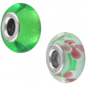 Connexions From Hallmark Stainless-Steel Pink, White & Green Flower Glass Charm and Green Foil Glass Charm Set